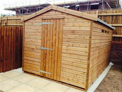 12x8 Apex Tanalised wood Security shed
