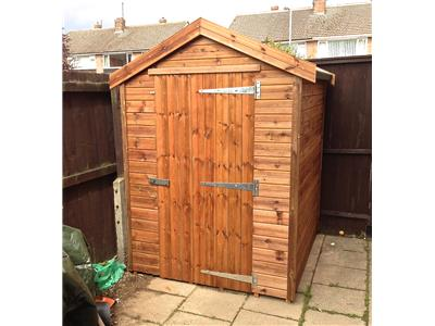 6x5 Apex Tanalised wood Security shed