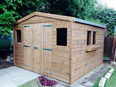 10x10 Apex Tanalised wood Garden shed