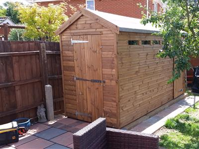 12x6 Apex Tanalised wood Security shed