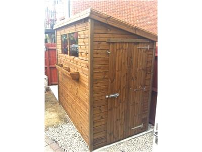 7x4 Pent-D Tanalised wood Garden shed