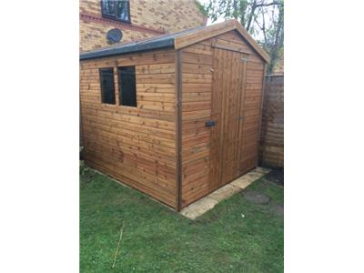 8x7 Apex Tanalised wood Garden shed