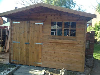 9x9 S2 Tanalised wood Garden shed