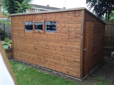 12x8 Pent-D Tanalised wood Garden shed