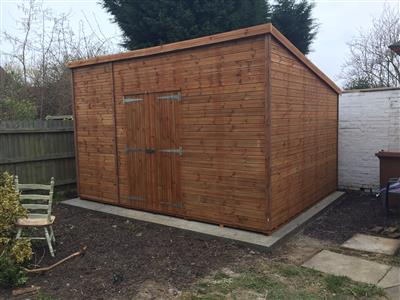 14x11 Pent-C Tanalised wood Security shed