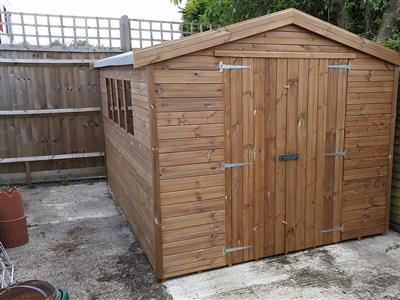 10x8 Apex Tanalised wood Garden shed
