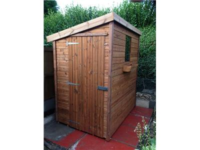6x4 Pent-E Tanalised wood Garden shed