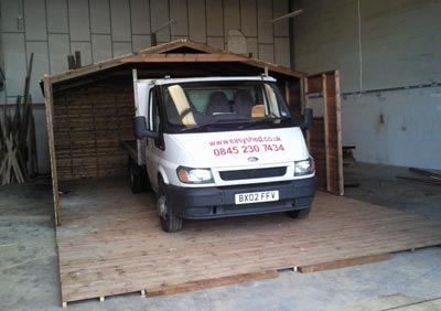 shed flooring with van on