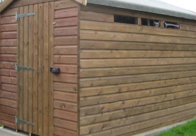shed clad in tongue and groove wood