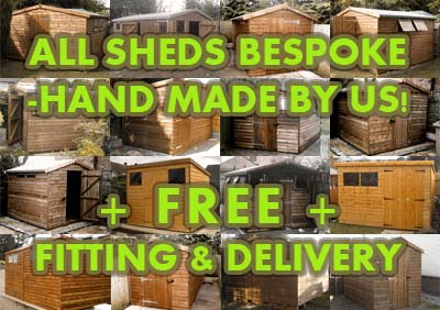 montage of bespoke wooden garden sheds for sale